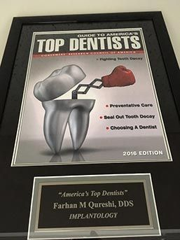 Top Dentist award plaque for 2016